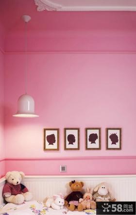 粉色儿童房墙面乳胶漆装修效果图