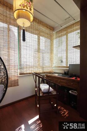 中式阳台改书房装修效果图