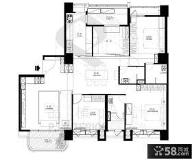 127平米三室两厅户型图