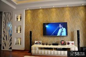 现代壁纸电视背景墙装修效果图