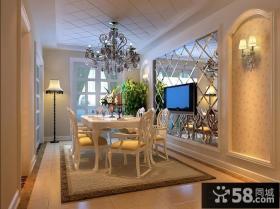 简约欧式风格餐厅电视背景墙图片欣赏