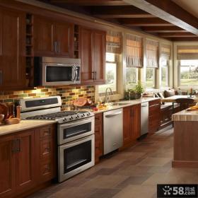 美式乡村风格一体式厨房装修