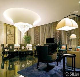 中式新古典风格餐厅吊顶图片