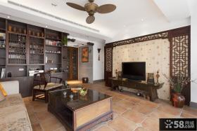中式风格客厅电视墙壁纸图片