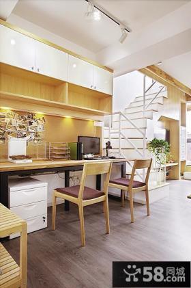 欧式风格复式楼书房装修效果图