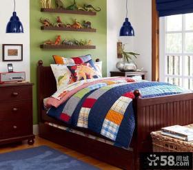 美式风格男儿童房床头搁板图片