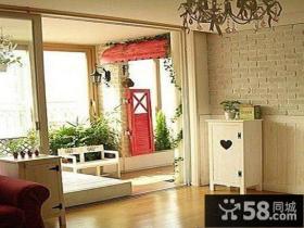 美式简约客厅连阳台装修效果图
