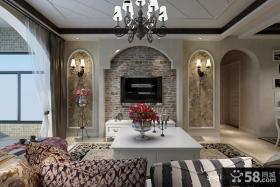 欧式田园客厅电视背景墙装修效果图大全2013图片