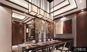 中式风格装饰别墅餐厅设计效果图