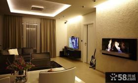 现代风格小户型客厅硅藻泥电视背景墙装修效果图