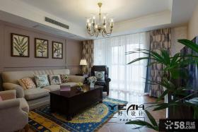 美式风格100平米一室一厅装修效果图
