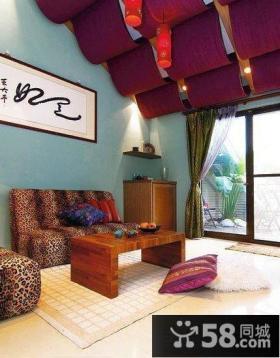 中式古典客厅与阳台隔断效果图