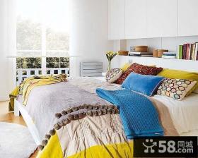 80平小户型明亮的色彩打造卧室装修效果图大全2014图片