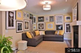 现代客厅沙发背景墙设计效果图