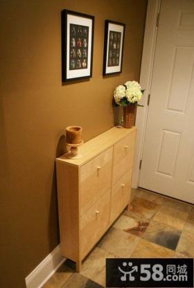 家庭玄关实木鞋柜装修效果图片