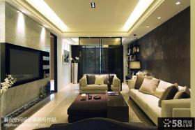 现代客厅石材电视背景墙装修效果图