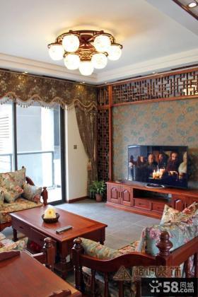 中式客厅电视背景墙装饰图片
