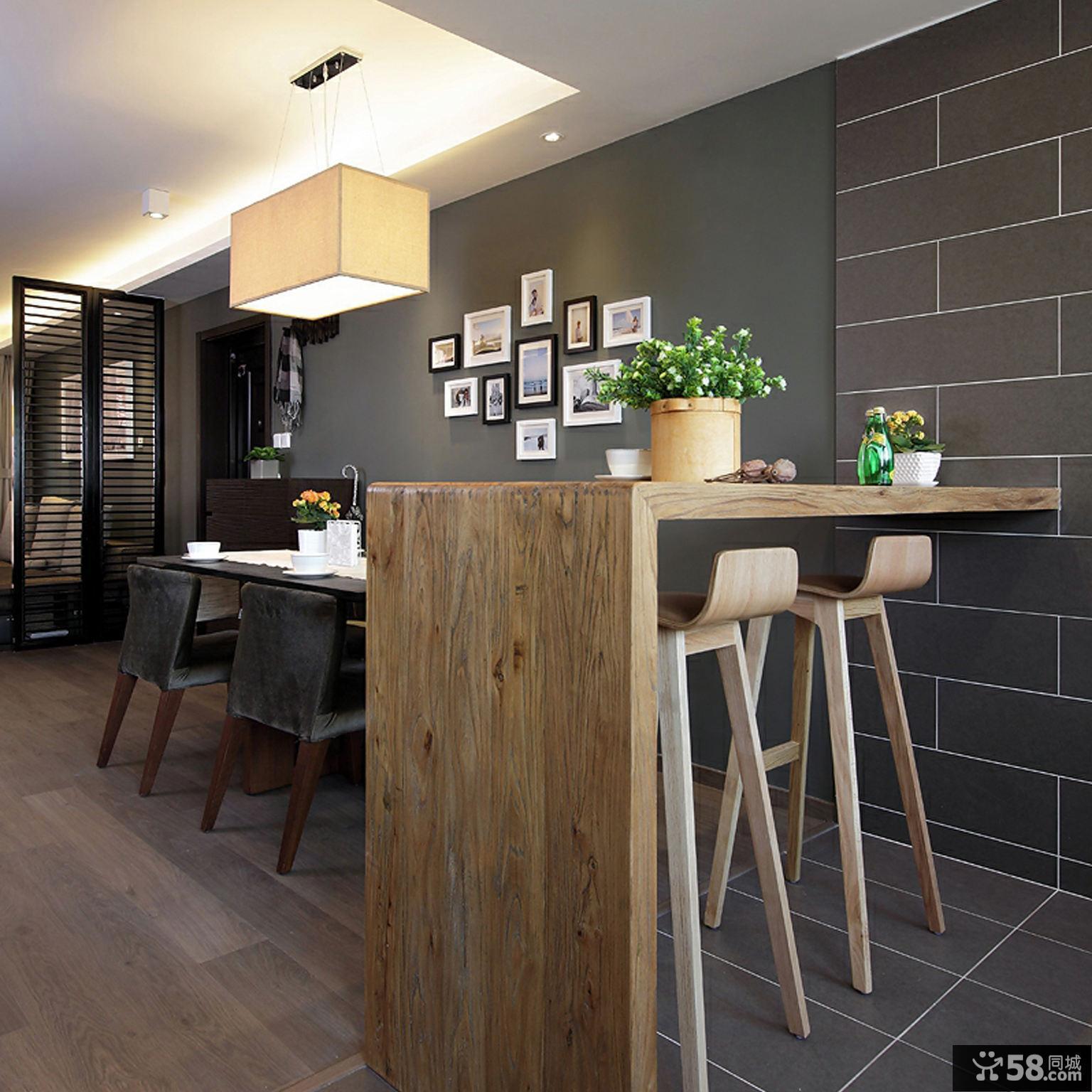 新中式实木吧台装修图片