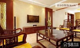 中式风格客厅电视背景墙装修图片欣赏大全