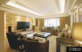 现代美式风格客厅电视背景墙效果图