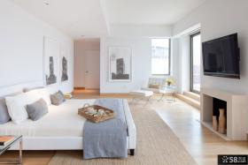 现代风格复式楼卧室电视墙效果图