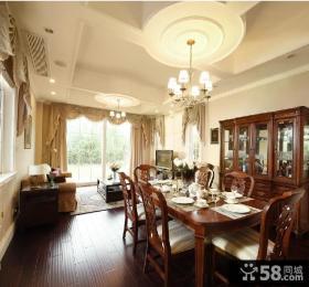 美式风格客厅餐厅吊顶效果图