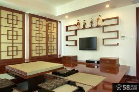 中式客厅电视背景墙造型装修效果图