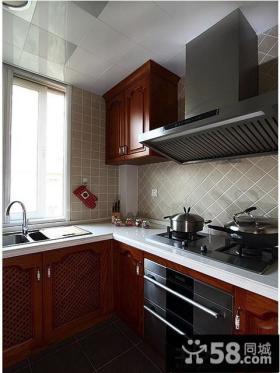 美式风格厨房实木橱柜图片欣赏