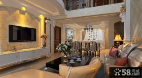 复式客厅电视背景墙设计效果图欣赏