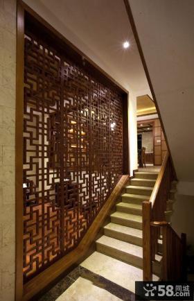 中式家居楼梯隔断墙