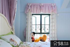 蓝色卧室阳台窗帘装修效果图