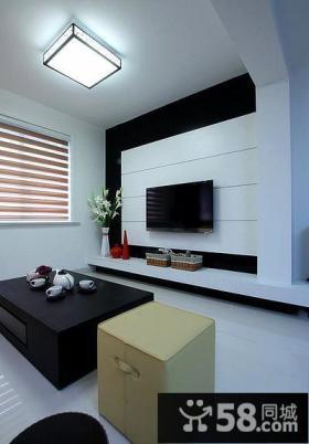 简单设计客厅电视背景墙图