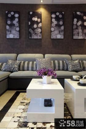 现代风格客厅墙上装饰画效果图