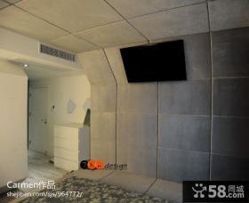 现代简约墙面仿古瓷砖电视背景墙设计