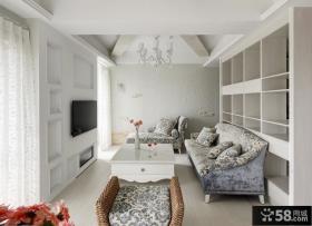 白色简约60平米小户型客厅装修效果图