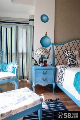 地中海风格卧室床头灯具装修效果图