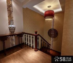 中式古典楼梯吊顶装修设计效果图