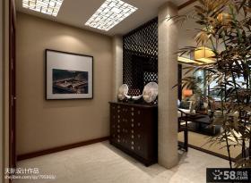 中式客厅玄关隔断效果图图片