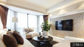 现代60平米小户型客厅铝箔电视背景墙壁贴图片