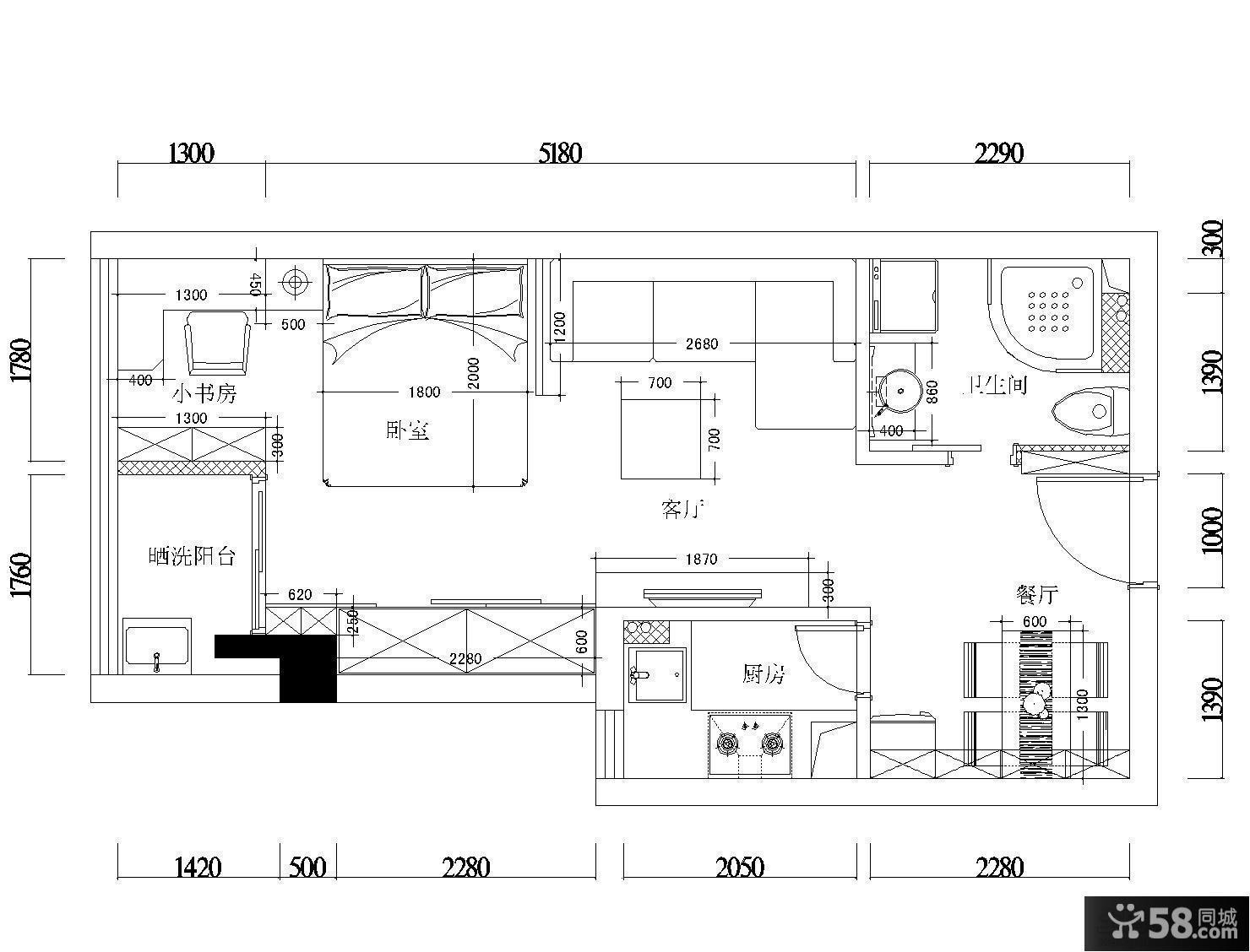 单身公寓平面图设计