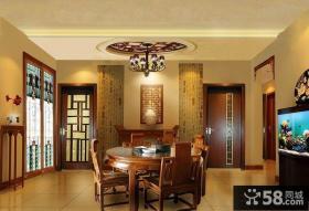 中式餐厅实木园餐桌装饰设计效果图