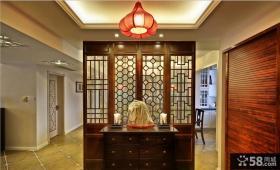 中式风格别墅室内屏风隔断效果图