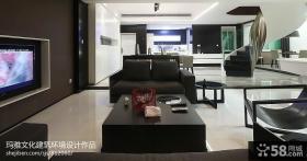 现代复式楼客厅电视机效果图
