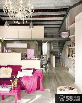 现代复式楼浪漫婚房、客厅吊顶装修效果图