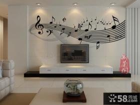 客厅电视背景墙瓷砖壁画效果图