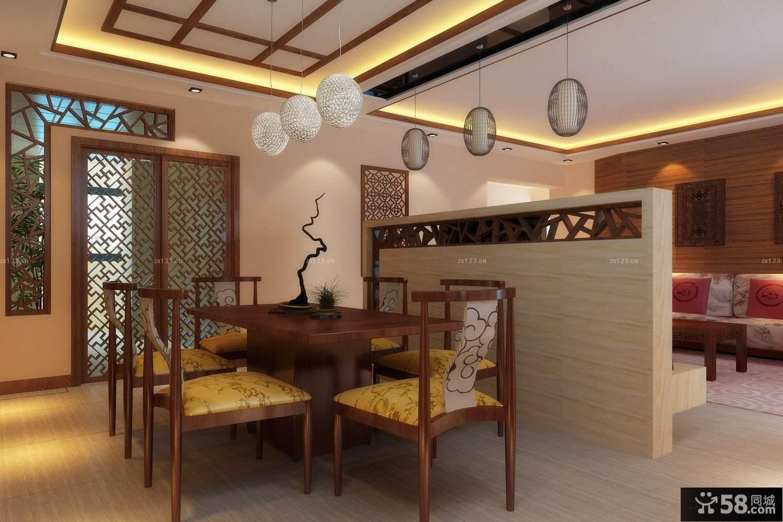 中式客廳與餐廳隔斷造型