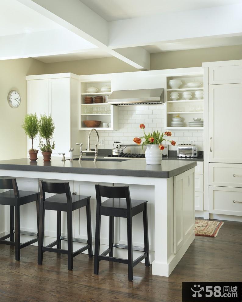 欧式开放式厨房吧台装修设计图片