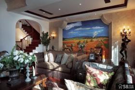 欧式田园别墅客厅装饰效果图