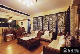中式风格客厅沙发背景墙效果图欣赏