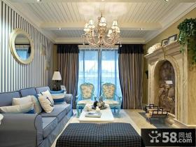蓝蓝的地中海风格装修客厅图片